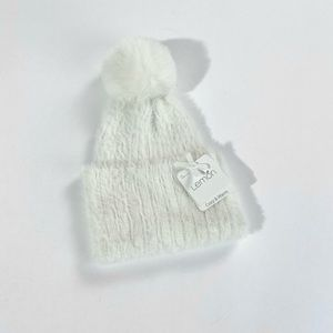 Lemon White fluff beanie with a Pom top